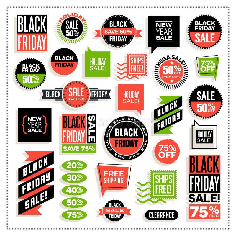 Большой комплект знамен для черных продаж пятницы и праздника бесплатная иллюстрация