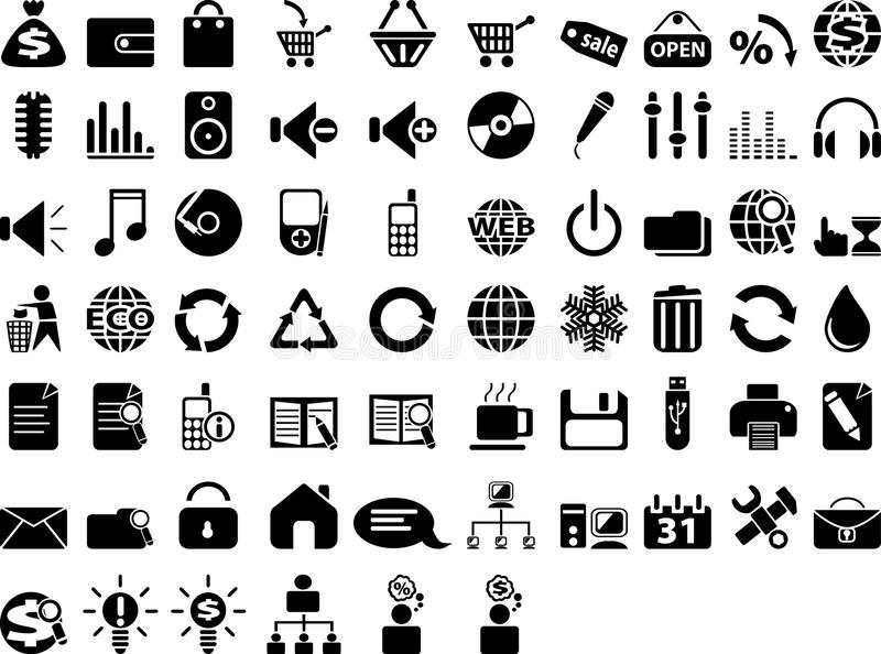 большой комплект иконы стоковые фото