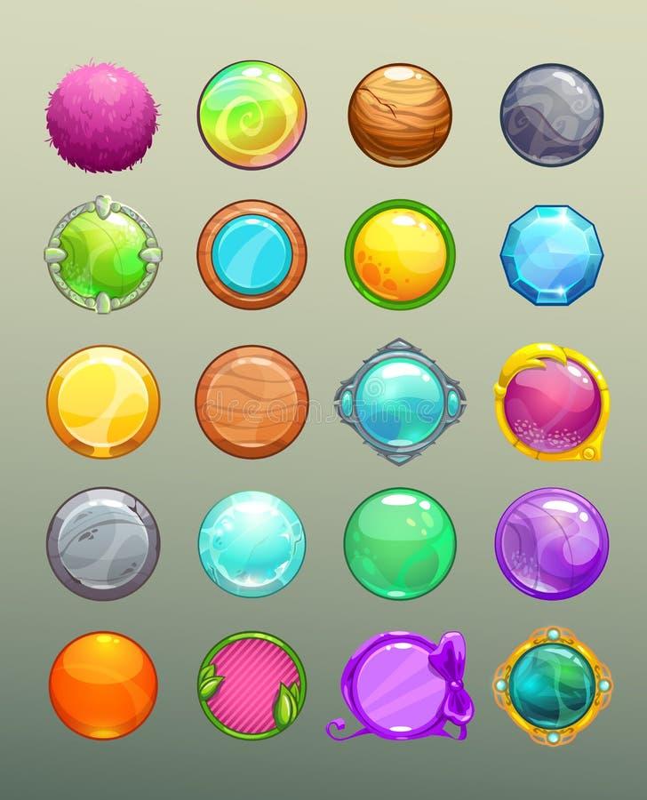 Большой комплект кнопок шаржа круглых красочных бесплатная иллюстрация