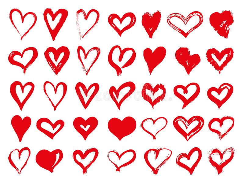Большой комплект красных сердец grunge Элементы конструкции на день Валентайн Формы сердца иллюстрации вектора Изолировано на бел иллюстрация штока