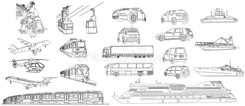 Большой комплект машин иллюстрация штока