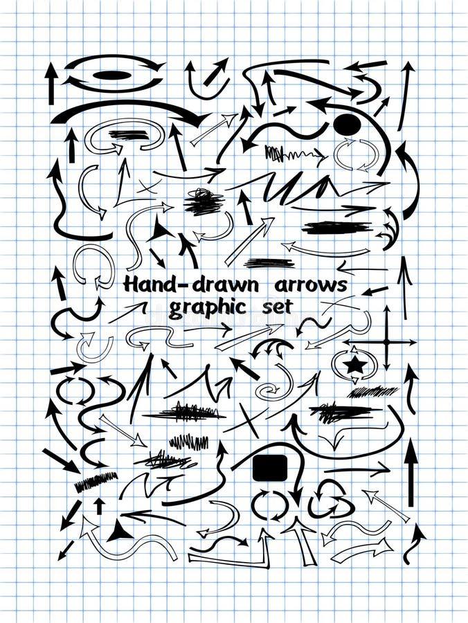 Большой комплект нарисованного вручную черного абстрактного вектора стрелок иллюстрация вектора