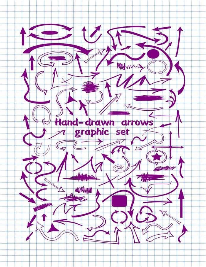 Большой комплект нарисованных вручную фиолетовых стрелок иллюстрация вектора