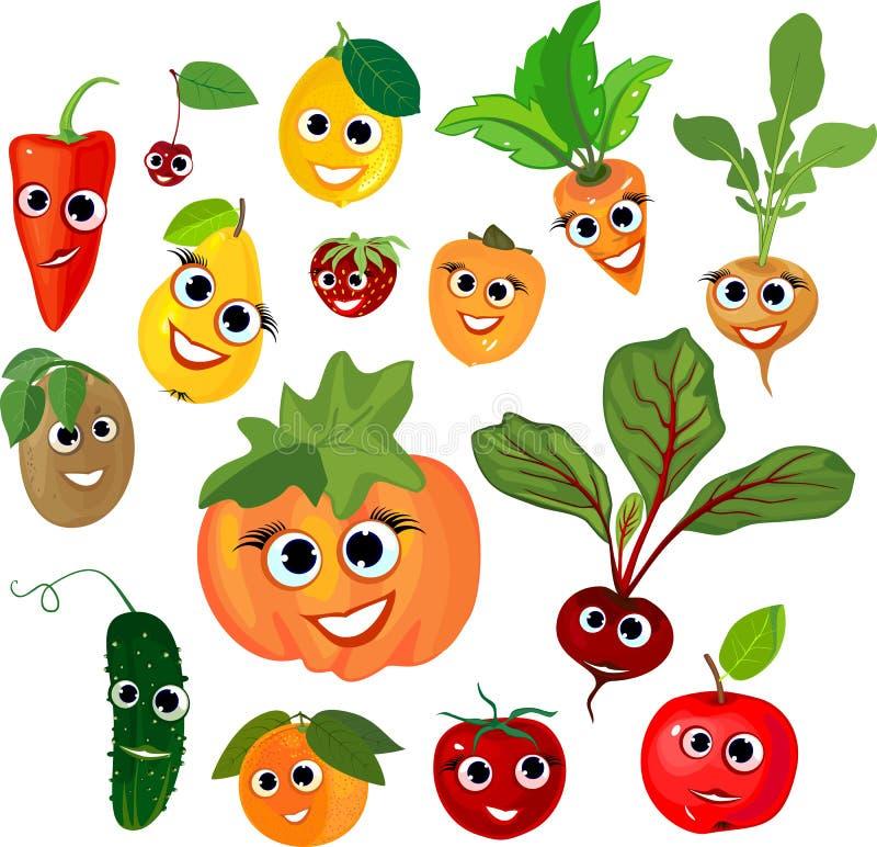 Большой комплект овощей и плодоовощей с усмехаясь сторонами на белой предпосылке бесплатная иллюстрация