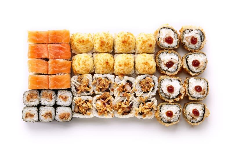 Большой комплект различных суш Maki или взгляд сверху Norimaki Rolles стоковые фото