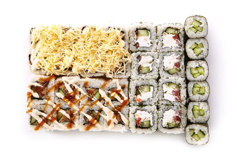 Большой комплект различных суш Maki или взгляд сверху Norimaki Rolles стоковые изображения rf