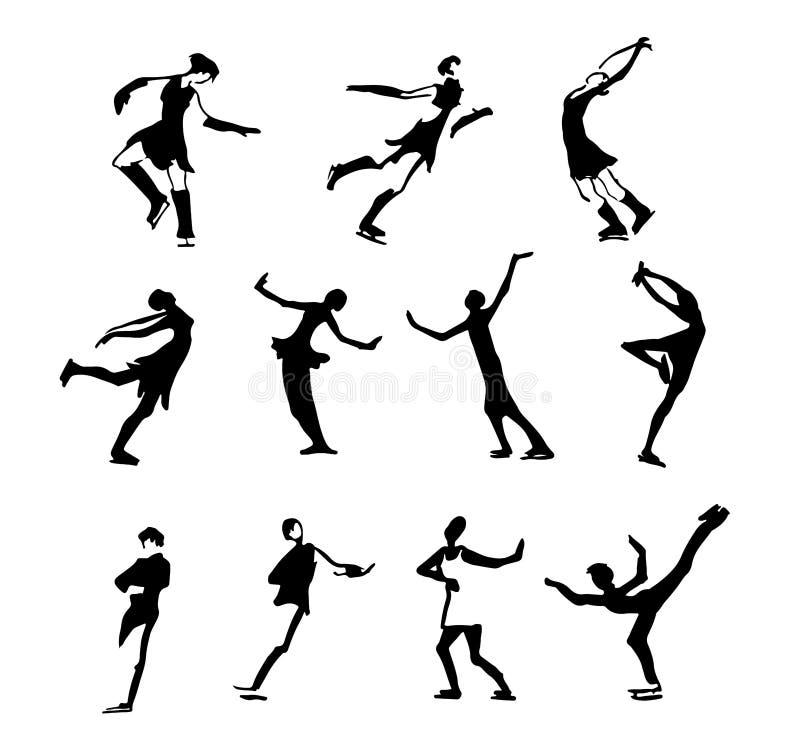 Большой комплект силуэтов людей людей и женщин представления искусства различных Катание на лыжах льда, фигурное катание также ве иллюстрация штока