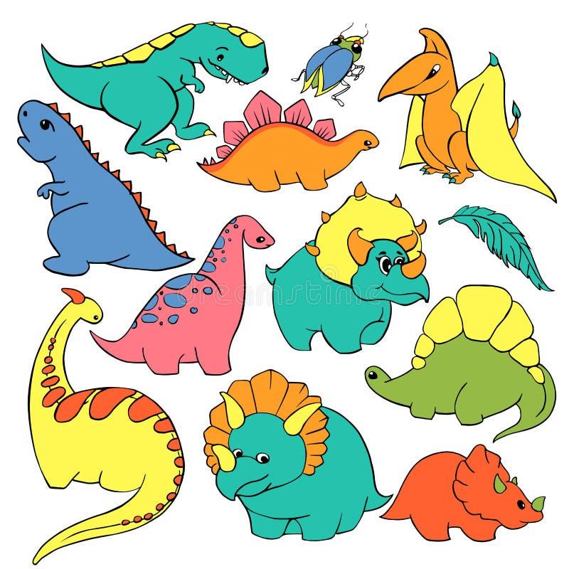 Большой комплект тиранозавра 12 динозавров шаржа ` s детей элементов смешного добросердечного, pterodactyl, диплодока, трицератоп бесплатная иллюстрация