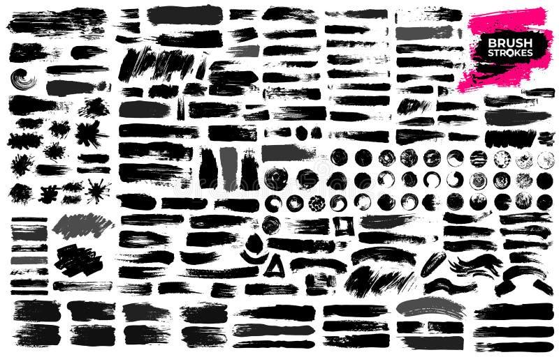 Большой комплект черной краски, ходов щетки чернил, щеток, линий, grungy Пакостные художнические элементы дизайна, коробки, рамки иллюстрация вектора