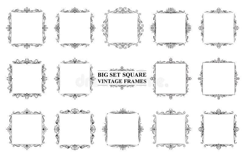 Большой комплект черных винтажных квадратных рамок бесплатная иллюстрация