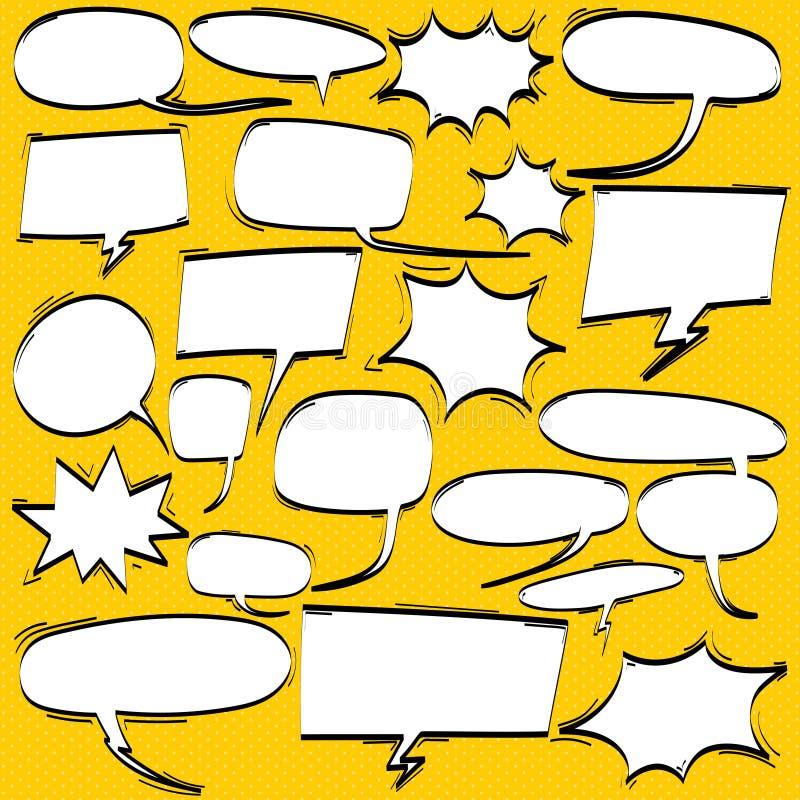 Большой комплект шаржа, шуточных пузырей речи, пустых облаков диалога в стиле искусства шипучки иллюстрация вектора