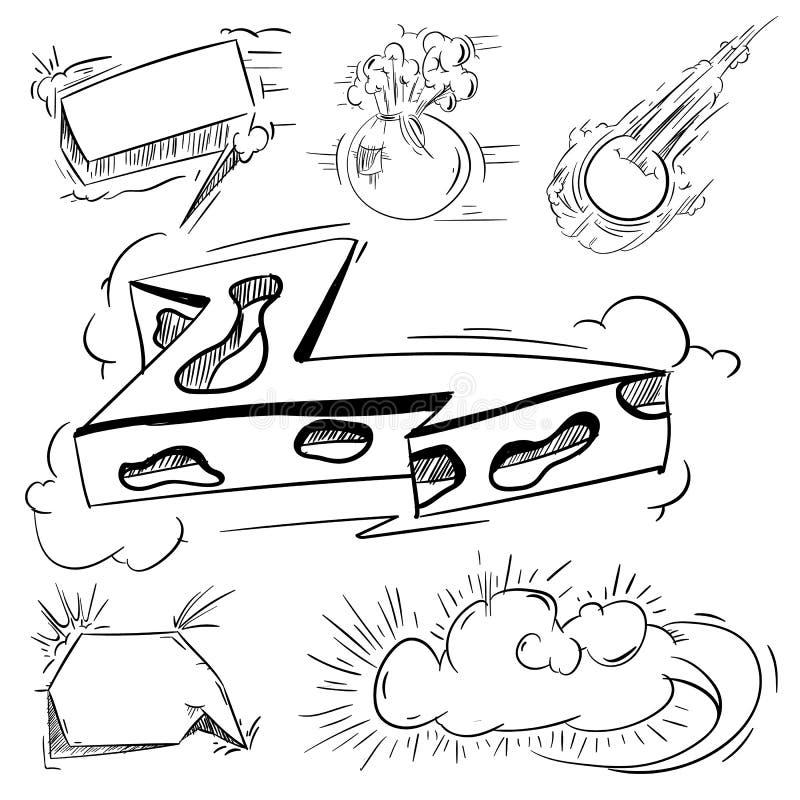Большой комплект шаржа, шуточных пузырей речи, пустых облаков диалога в стиле искусства шипучки Иллюстрация для книги комиксов, с иллюстрация штока