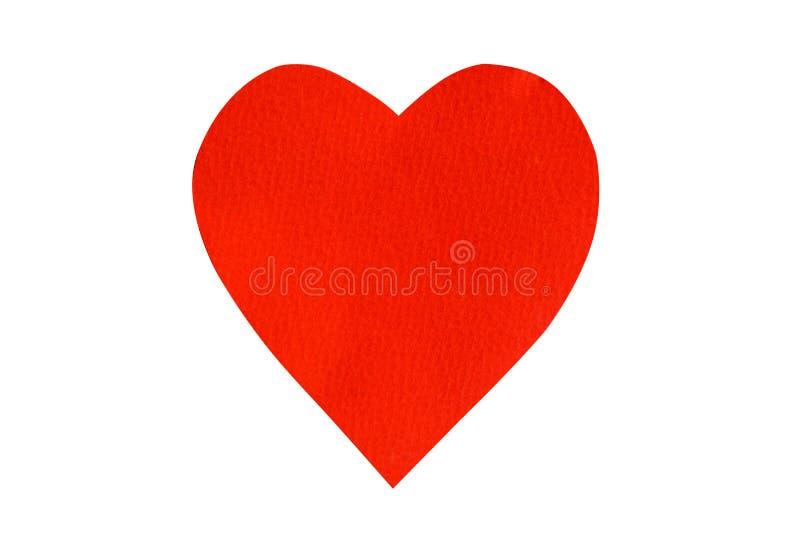 Большой красный изолят бумаги сердца на белой предпосылке стоковое изображение