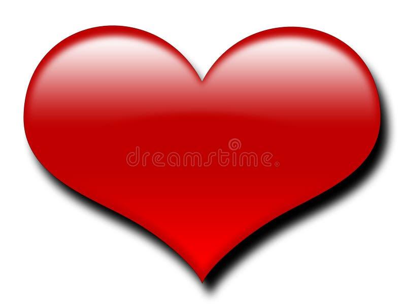 большой красный цвет сердца иллюстрация вектора