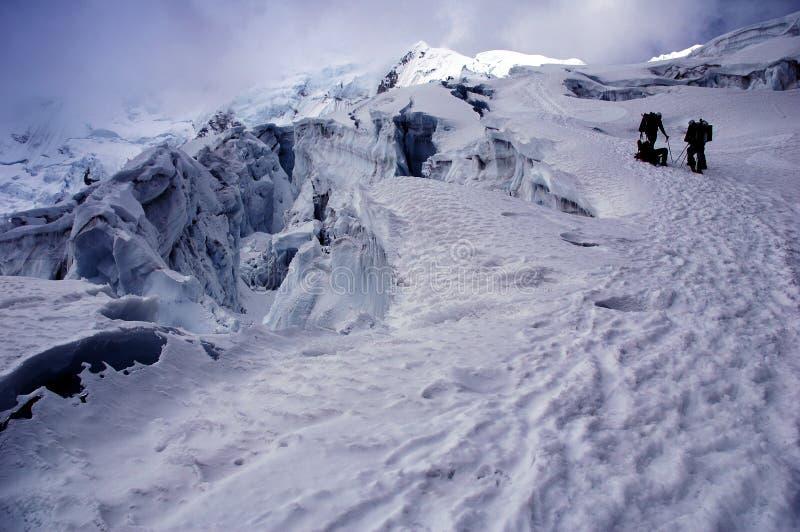 большой ледник друзей crevases chipicalqui ближайше стоковые изображения