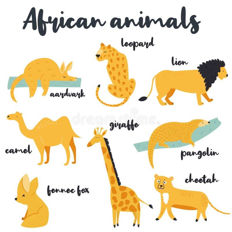 Большой набор африканских животных на белой предпосылке иллюстрация штока