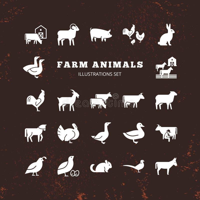 Большой набор вектора 25 ферма и значки животноводческой фермы который большой для иллюстраций иллюстрация штока