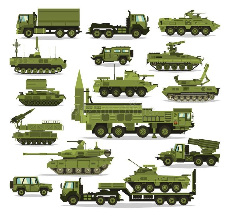 Большой набор военного оборудования Тяжелый, резервирование и особенный переход Оборудование для войны Ракета, танки, тележки, бесплатная иллюстрация