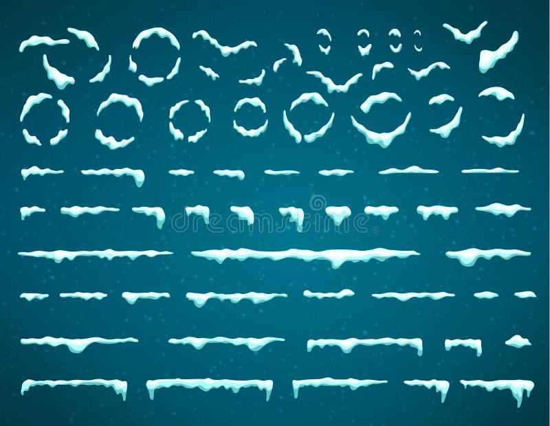 Большой набор изолированных сосулек снега и крышки снега Элементы мультфильма снежные над предпосылкой зимы шаблон ресторана конс иллюстрация вектора