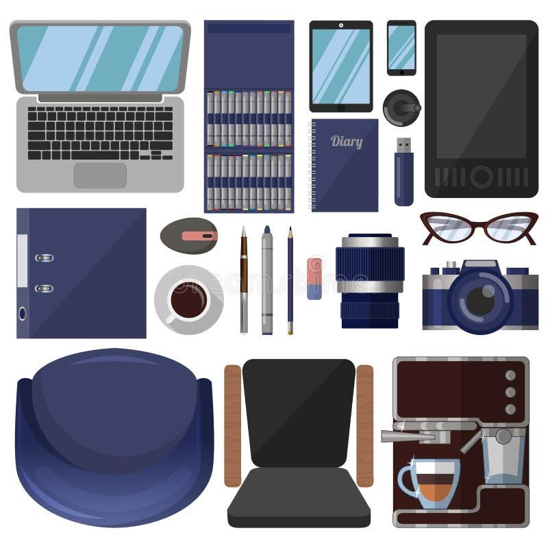 Большой набор инструментов канцелярских принадлежностей и графического дизайна иллюстрация штока