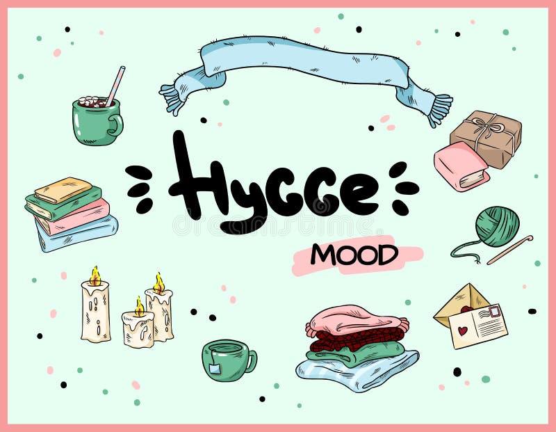 Большой набор милых doodles стикера hygge Настроение осени и зимы r бесплатная иллюстрация