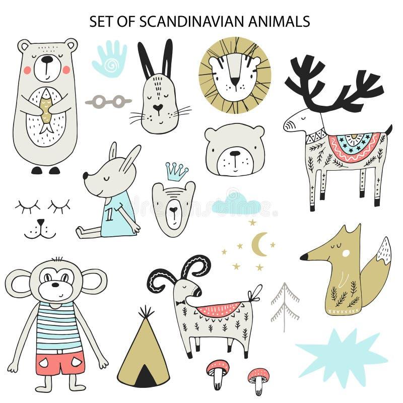 Большой набор различных животных мультфильма Милые handdrawn дети закрепляют коллекцию произведений искусства также вектор иллюст иллюстрация вектора