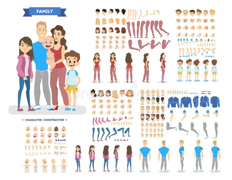 Большой набор символов семьи для анимации иллюстрация вектора