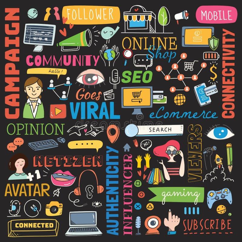 Большой набор социального doodle предпосылки средств массовой информации иллюстрация вектора