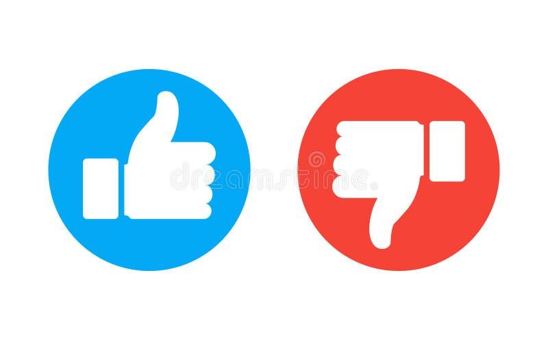 Большой палец руки вверх и вниз красных и зеленых значков также вектор иллюстрации притяжки corel Я люблю и невзлюблю вокруг кноп бесплатная иллюстрация