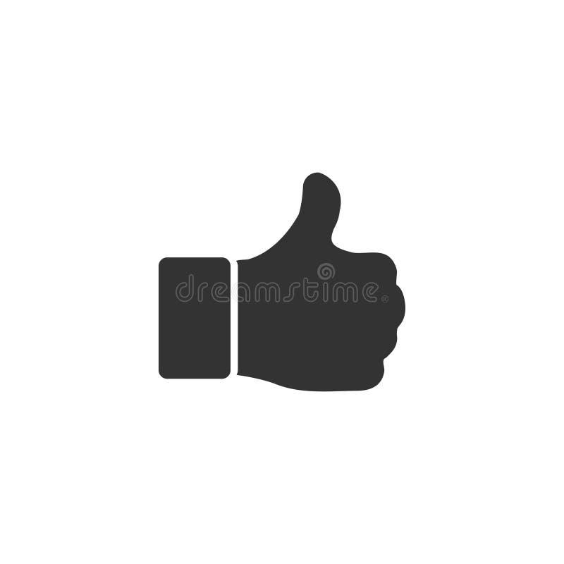 Большой палец руки руки вверх, как квартира значка иллюстрация вектора