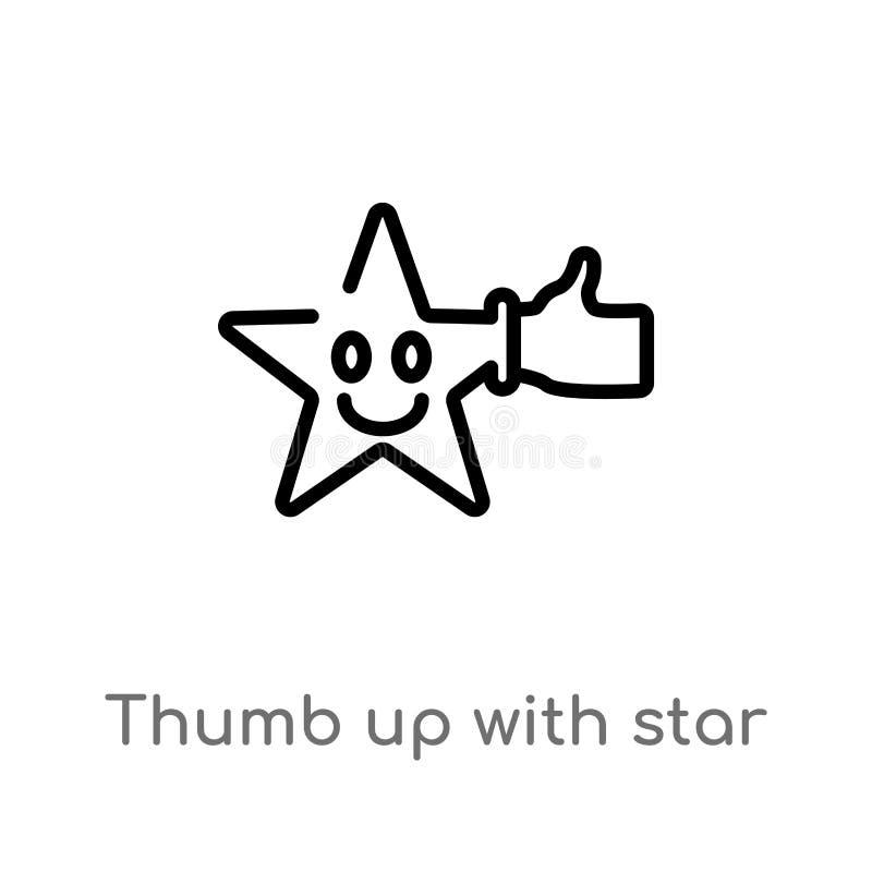 большой палец руки плана вверх со значком вектора звезды изолированная черная простая линия иллюстрация элемента от концепции кин иллюстрация вектора