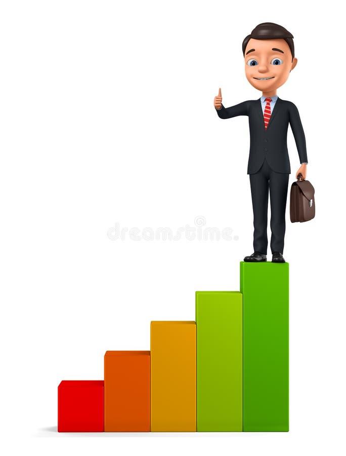 Большой палец руки показа бизнесмена вверх пока взбирающся лестницы на белой предпосылке r иллюстрация штока