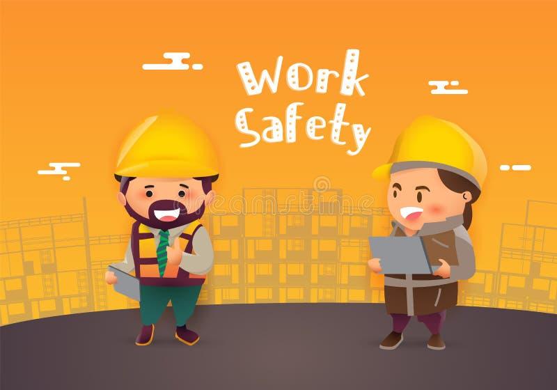 Большой палец руки ремонтника рабочий-строителя вверх по знамени, безопасность прежде всего, здоровью и безопасности, иллюстратор иллюстрация вектора