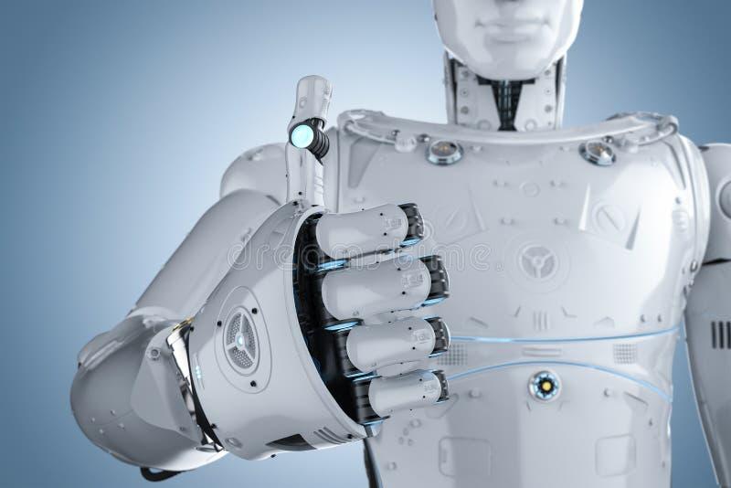 Большой палец руки робота вверх иллюстрация вектора