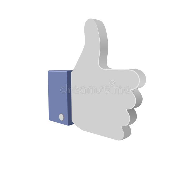 Большой палец руки Facebook вверх по знаку кнопки 3d иллюстрация вектора