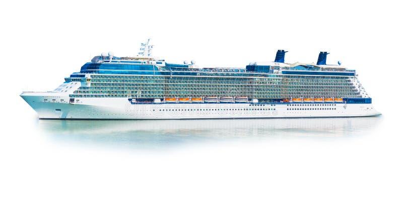 Большой паром вкладыша туристического судна изолированный на белой предпосылке стоковое фото rf
