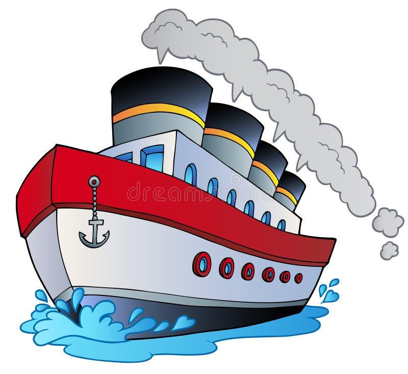 большой пароход шаржа иллюстрация вектора