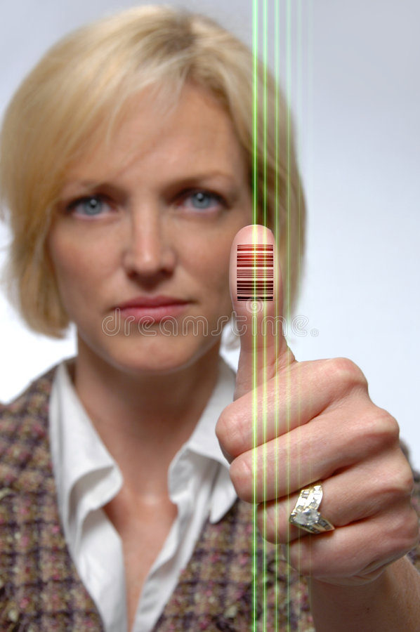 большой пец руки кода штриховой маркировки отпечатанный стоковое фото rf