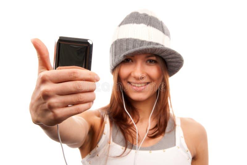 Download большой пец руки наушников мобильного телефона вверх по женщине Стоковое Изображение - изображение насчитывающей рука, только: 18390877