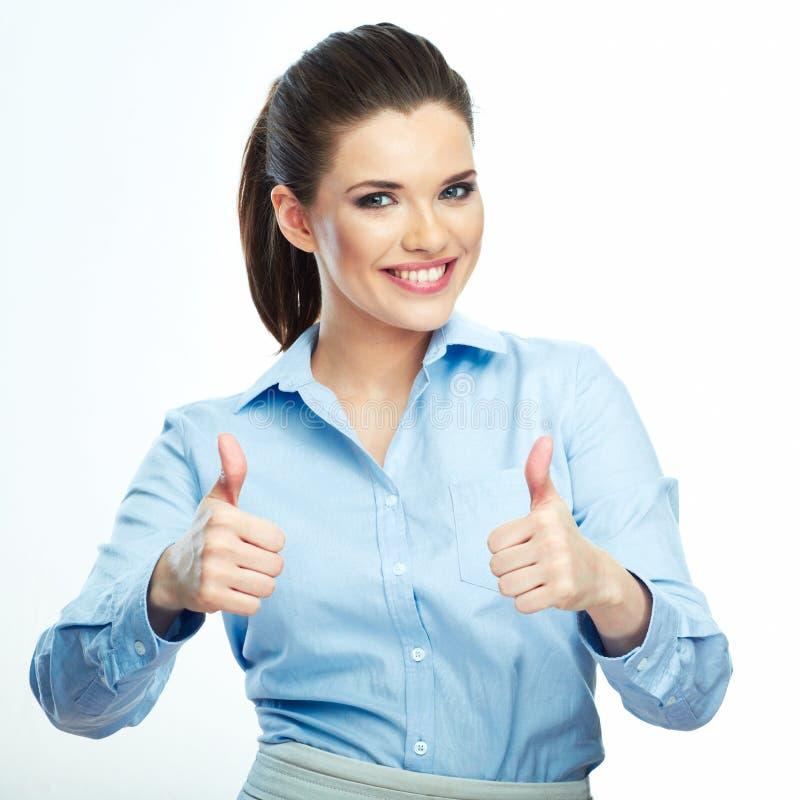 большой пец руки предпосылки изолированный чернотой вверх Предпосылка изолированная бизнес-леди белая стоковое изображение