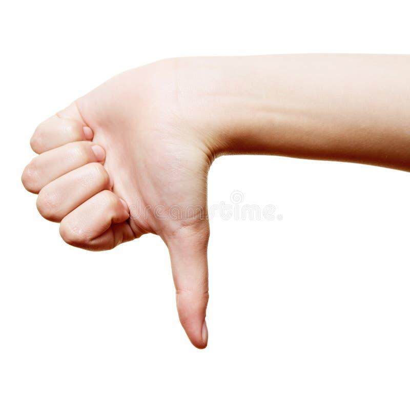 Большой пец руки указывая вниз стоковые изображения rf