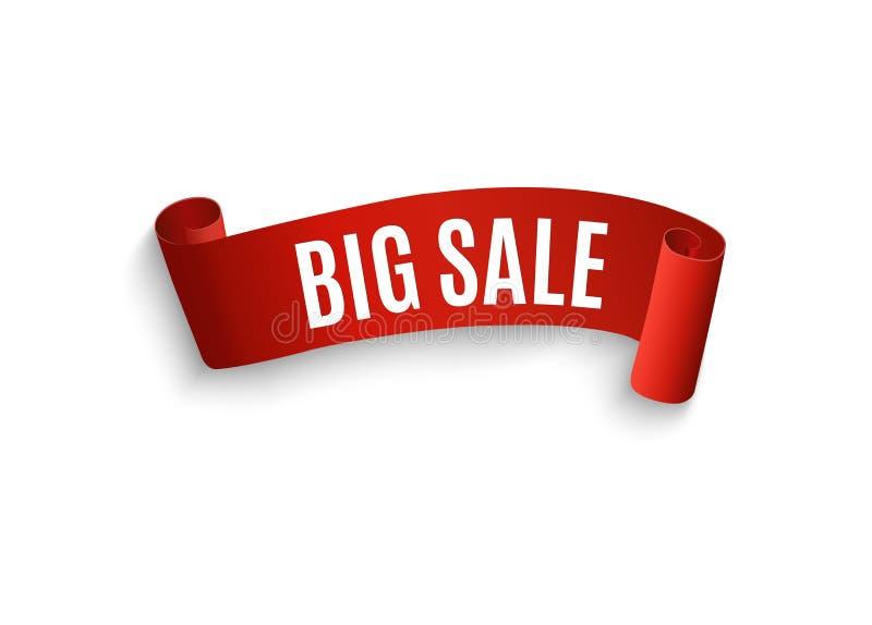 Большой плакат продажи рождества, изолированный на белой предпосылке Красное, изогнутое, бумажное знамя также вектор иллюстрации  бесплатная иллюстрация