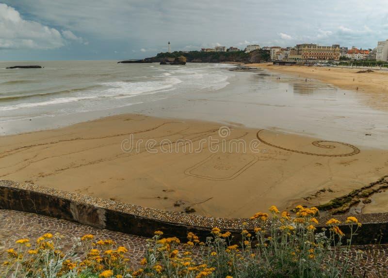 Большой пляж Plage в Биаррице, Аквитании, Франции стоковые изображения