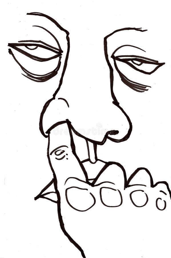 большой подборщик носа иллюстрация вектора