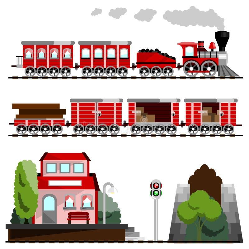 большой поезд комплекта иллюстрация штока