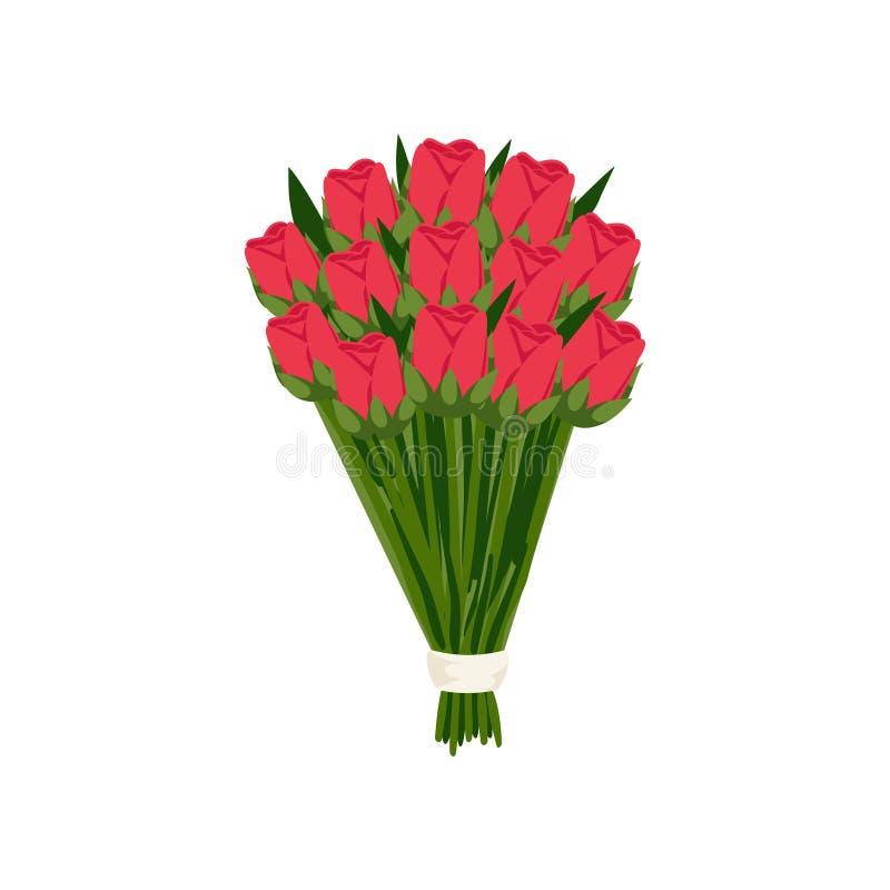 Большой праздничный букет подарка розовых тюльпанов шарлаха в бумаге ответной части на пустой предпосылке бесплатная иллюстрация