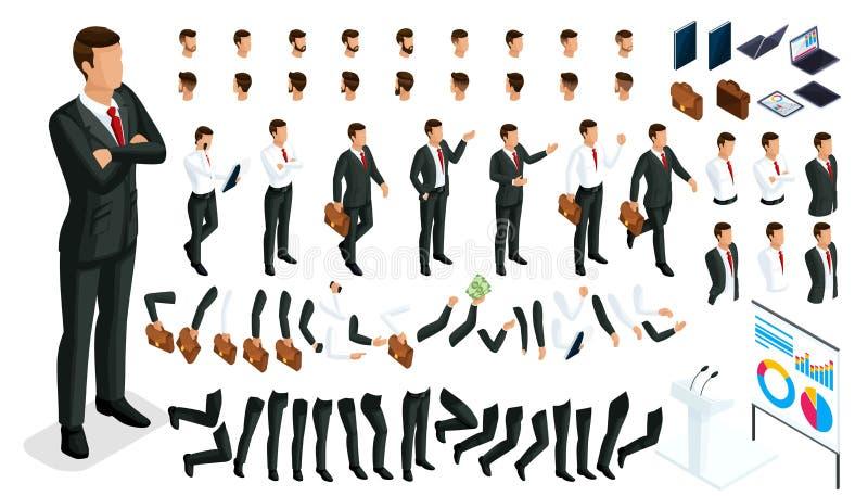 Большой равновеликий набор жестов рук и 3D ног бизнесмена характера Создайте ваш работника офиса человека, идите вокруг иллюстрация вектора