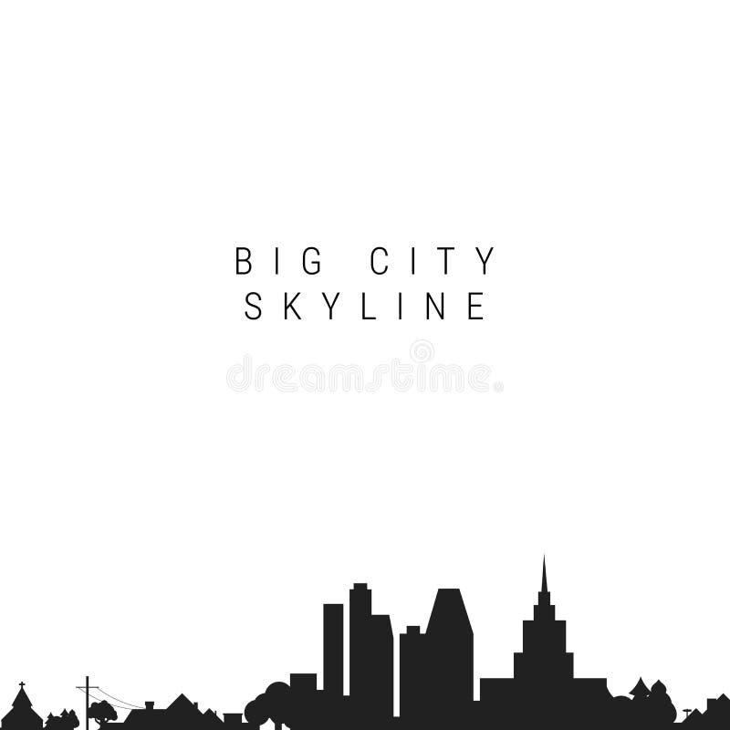 Большой силуэт горизонта города r иллюстрация штока