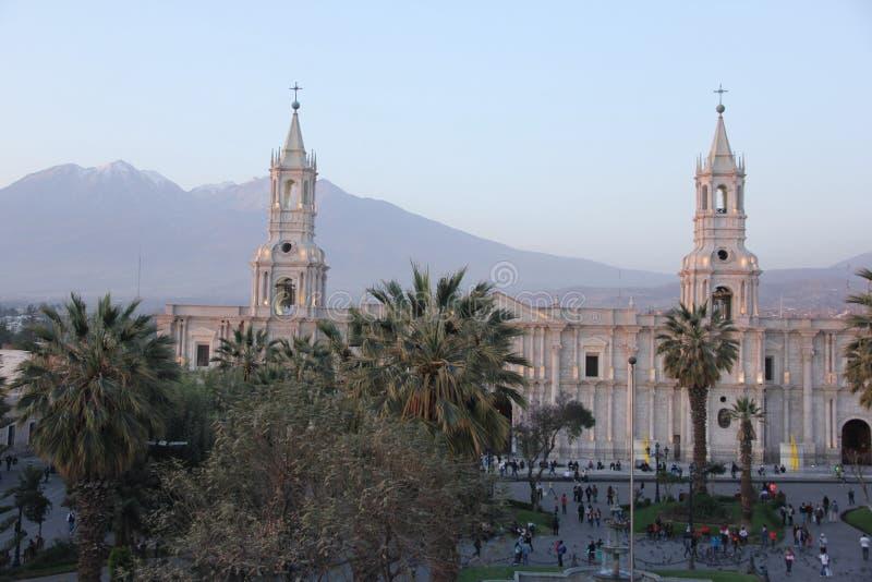 Большой собор на главной площади стоковое фото