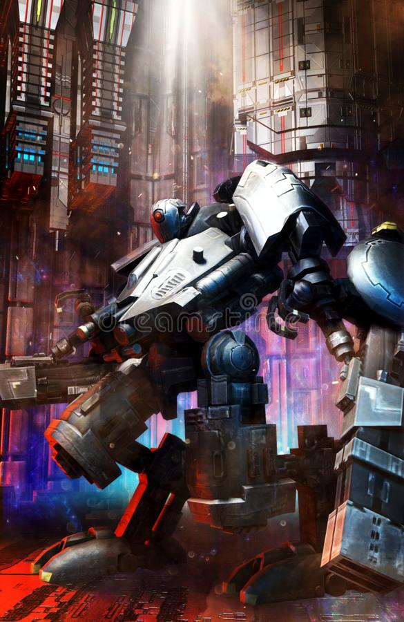 Большой солдат mecha робота бесплатная иллюстрация